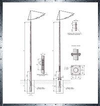 Многогранные силовые опоры освещения установка на фланец - МС / ОГК