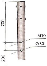Исполнение 01 - воздушный подвод кабеля. Верхняя часть опоры.